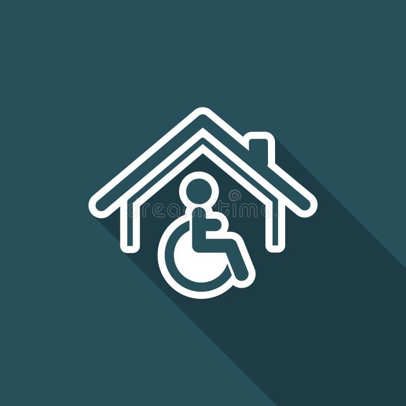 Bostads- handikapphjälp - vektorrengöringsduksymbol royaltyfri illustrationer