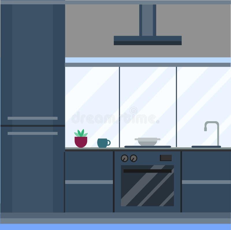 Bostads- inre av modernt kök i lyxig herrgård Illustration för vektor för möblemang för husarkitektur ny modern stock illustrationer