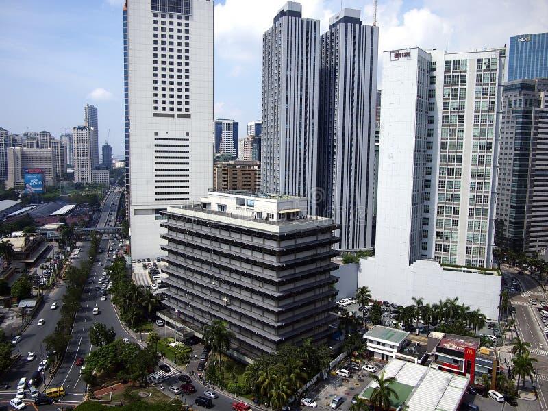 Bostads- och kommersiella byggnader i den Pasig staden, Filippinerna royaltyfria bilder