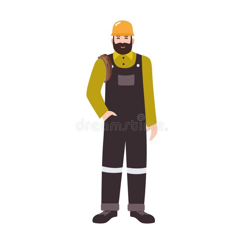 Bostads- rörmokare, overaller för arbetare för avrinning- eller rörlokalvårdservice bärande och hård hatt Le det manliga tecknad  royaltyfri illustrationer