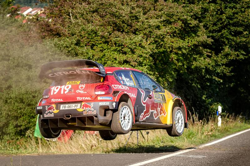 Sebastien Ogier and Julien Ingrassia at ADAC Rally Germany royalty free stock photo