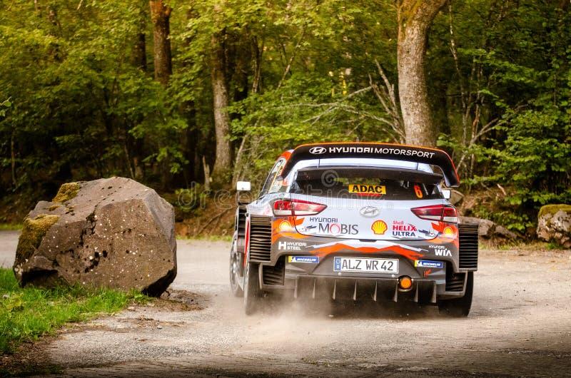 Dani Sordo and Carlos del Barrio at ADAC Rally Germany stock image