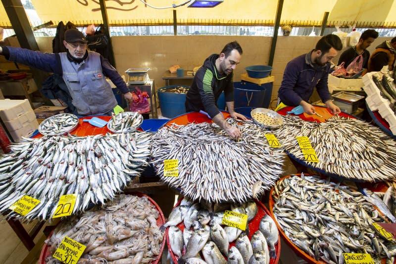 Bostanli / Izmir / Turkey, February 20, 2019, Bostanli fish market bazaar Bospa stock photography