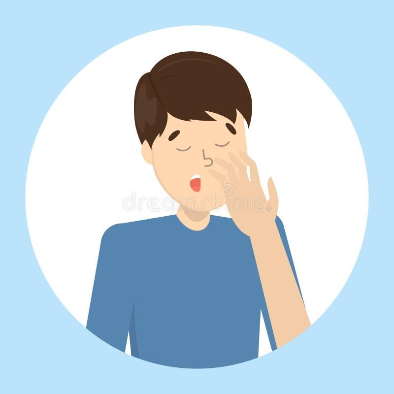 Bostezo cansado o agujereado del hombre Individuo soñoliento stock de ilustración