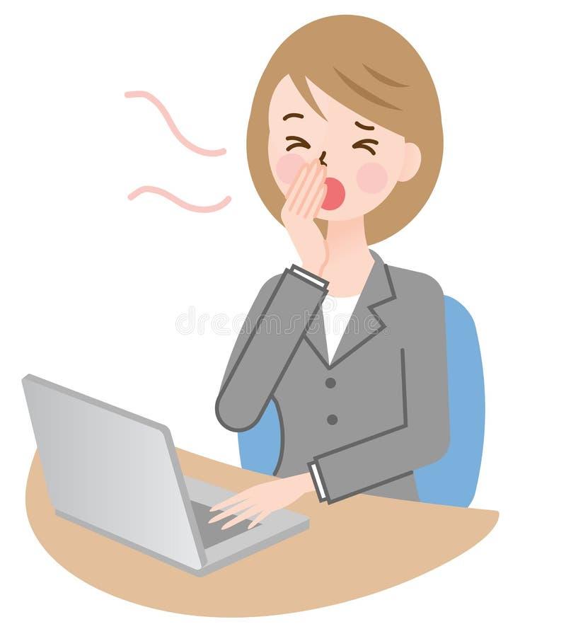 Bostezo de la empresaria, trabajando en su escritorio stock de ilustración