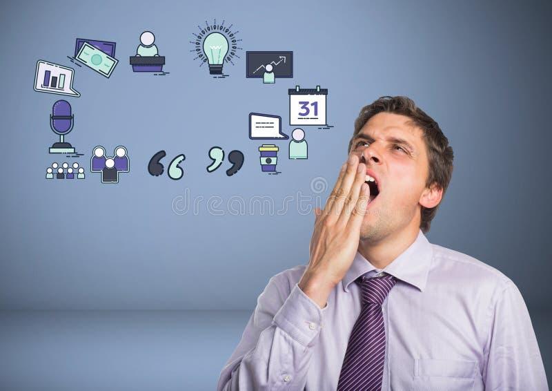 Bostezo del hombre de negocios cansado con los dibujos de gráficos de negocio ilustración del vector