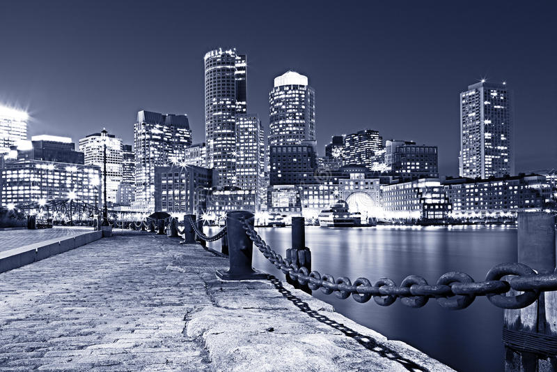 Boston. Night Scene of Boston Downtown in Massachusetts, USA stock image