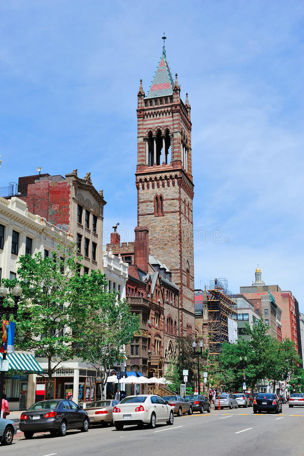 Boston. City street view with traffic and historical architecture royalty free stock image