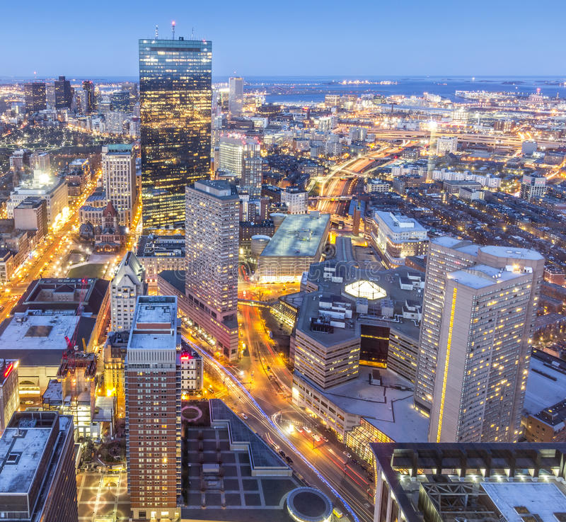 Boston. Aerial view of Boston in Massachusetts, USA showcasing the architecture of its Financial District at sunset stock photos