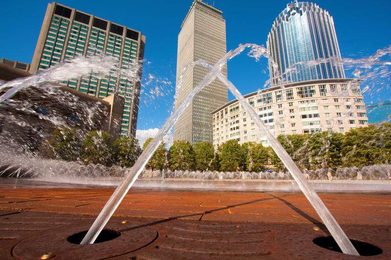 Boston Architecture. View of Boston landmarks: Prudential Tower and Fountain royalty free stock images