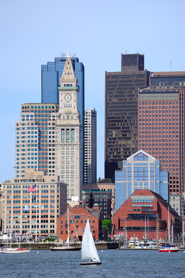 Boston architecture closeup. Boston downtown urban architecture with boat and city skyline stock images