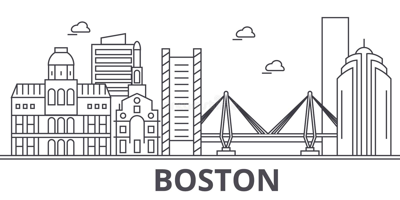 Boston architecture line skyline illustration. Linear vector cityscape with famous landmarks, city sights, design icons. Editable strokes royalty free illustration