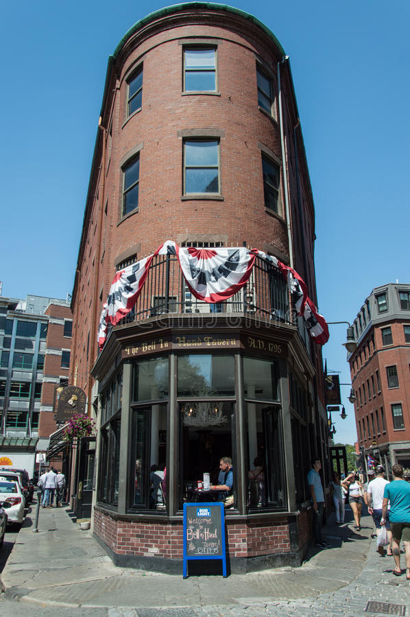 Boston architecture. The old style brick architecture. This is the America`s oldest tavern, Bell in Hand Tavern. Boston. USA stock photos