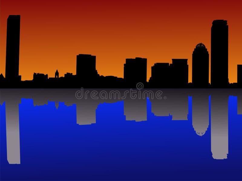 Boston au coucher du soleil illustration stock