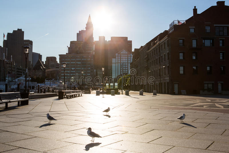 Boston au coucher du soleil image stock