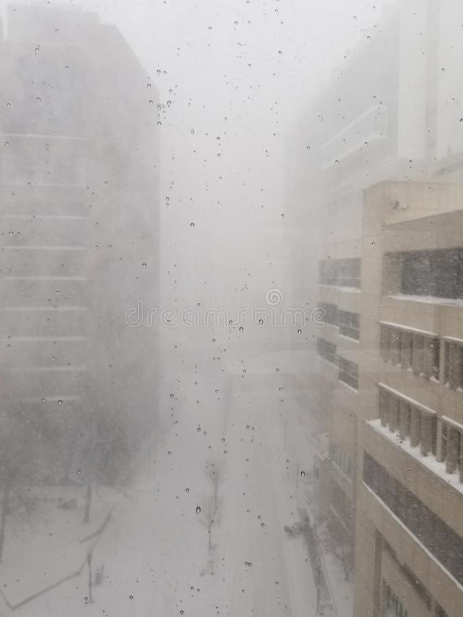 Boston blizzard 2018. Taken from 6th floor of Tufts Medical Center..downtown Boston stock photos