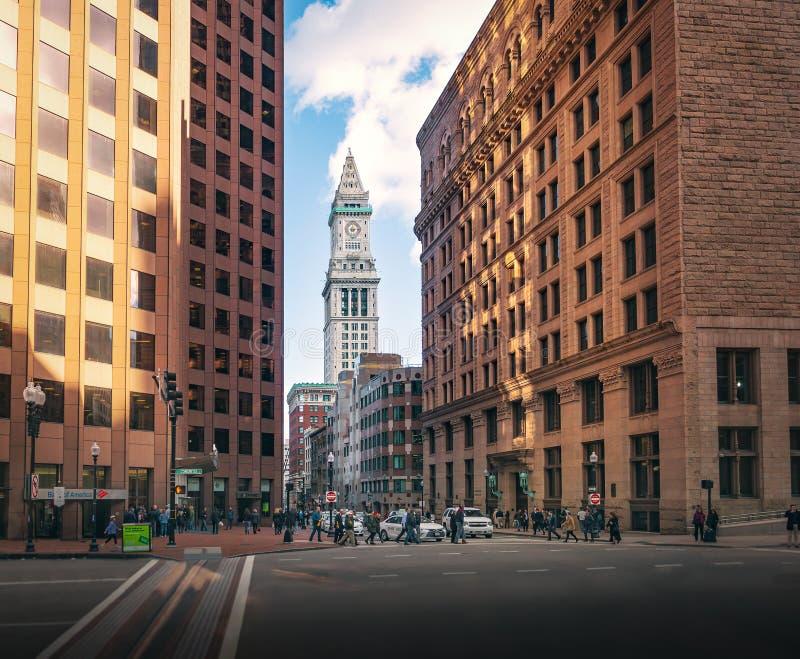 Boston budynki i Obyczajowego domu Zegarowy wierza - Boston, Massachusetts, usa obrazy royalty free