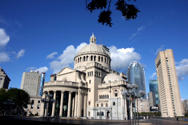 Boston center architecture. Boston's Christian Science church and Prudential building and the architecture around stock photography