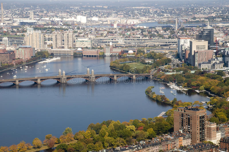 Boston with Charles River. During the Fall royalty free stock image
