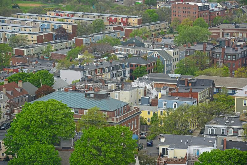 Boston Charlestown Houses, Massachusetts, USA. Boston Charlestown Houses aerial view, from the top of Bunker Hill Monument, Boston, Massachusetts, USA stock photos