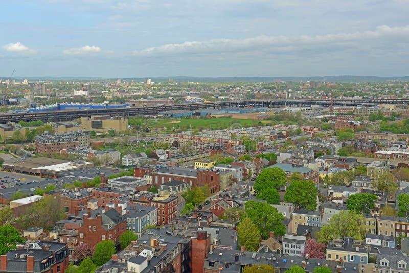 Boston Charlestown Houses, Massachusetts, USA. Boston Charlestown Houses aerial view, from the top of Bunker Hill Monument, Boston, Massachusetts, USA stock image