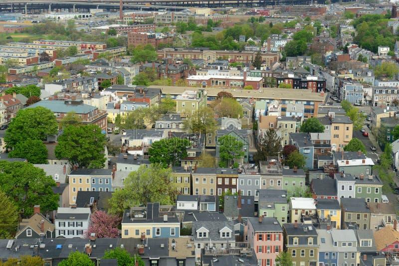 Boston Charlestown Houses, Massachusetts, USA. Boston Charlestown Houses aerial view, from the top of Bunker Hill Monument, Boston, Massachusetts, USA royalty free stock photos