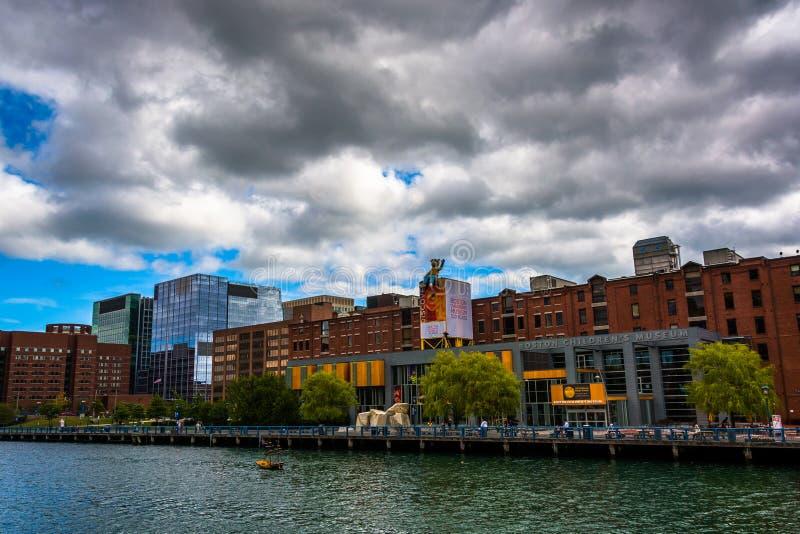 Boston Children muzeum, widzieć przez fortu punktu kanał fotografia royalty free