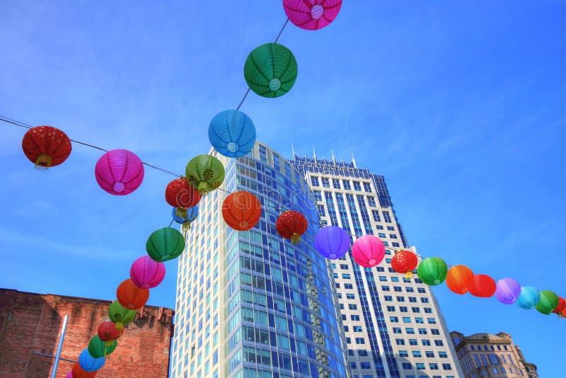 Boston, Chinatown ulicy przy jaskrawym słonecznym dniem zdjęcia stock