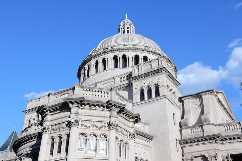Boston church. Boston, Massachusetts in the United States. The First Church of Christ, Scientist. Classical architecture royalty free stock image