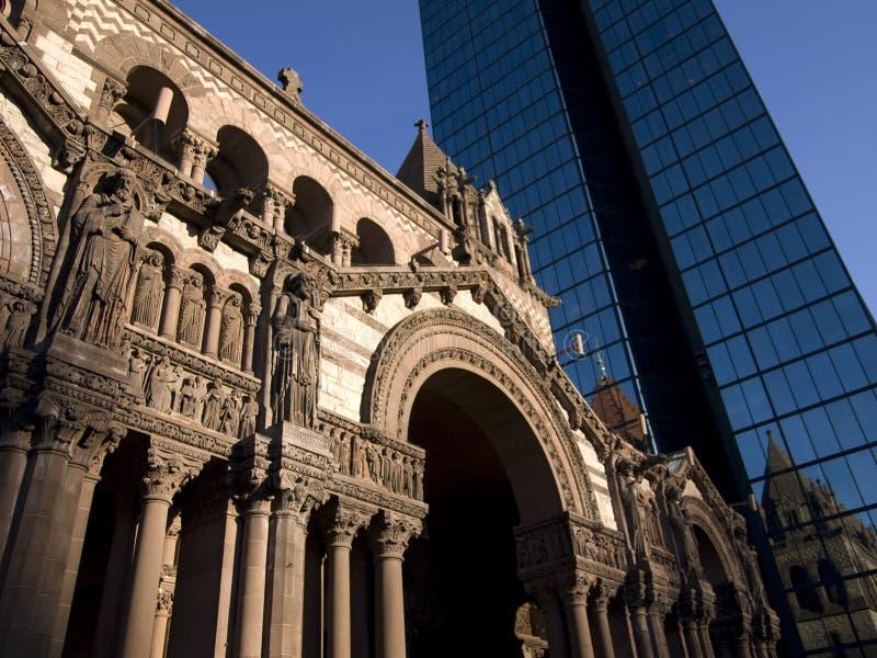 Boston Church and Skyscraper royalty free stock photography