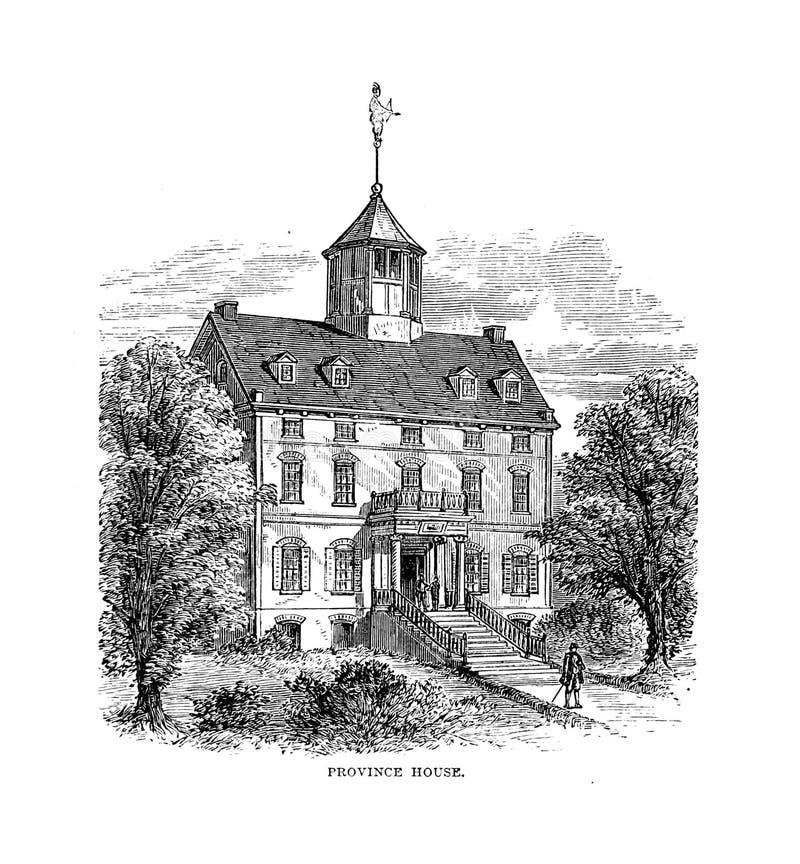 Boston city. Engraving illustration royalty free illustration