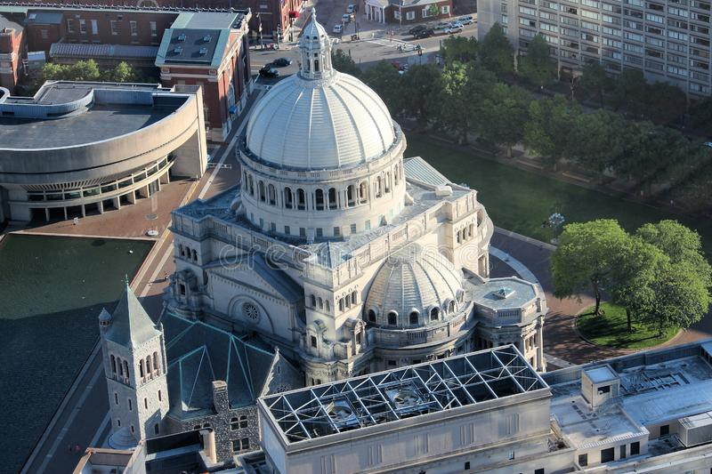 Boston church. Boston city. The First Church of Christ, Scientist. Classical architecture aerial view stock photos