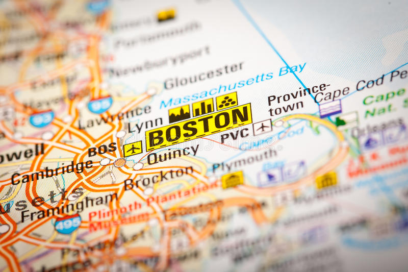 Boston City on a Road Map. Map Photography: Boston City on a Road Map royalty free stock images