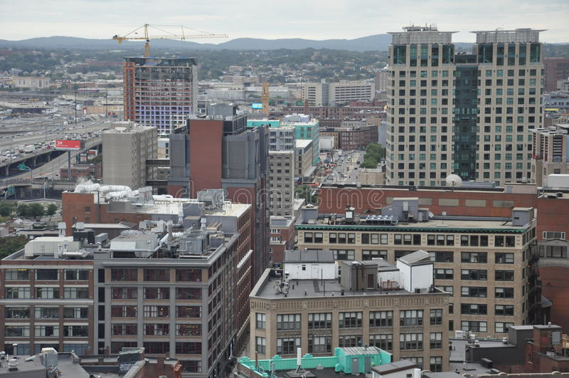 Boston city skyline. Aerial view of the skyline of Boston city, Massachusetts, USA stock images