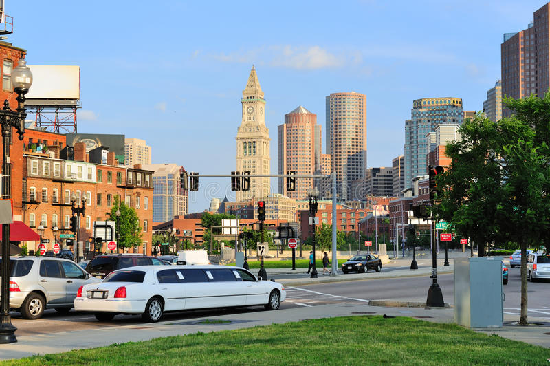 Boston city street. View with traffic and historical architecture stock image