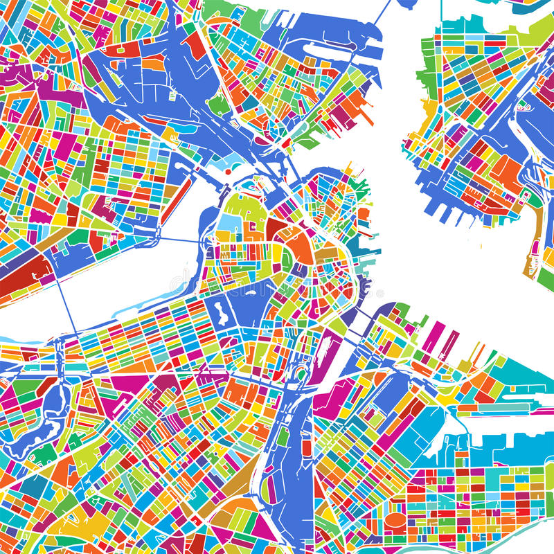 Boston Colorful Vector Map royalty free illustration