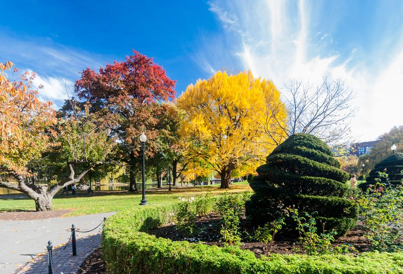 Boston Common in fall. Boston Common is a central public park in downtown Boston, Massachusetts. It is sometimes erroneously referred to as the Boston Commons stock photo