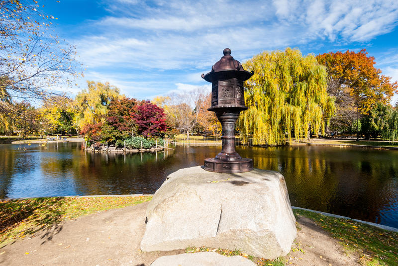 Boston Common in fall. Boston Common is a central public park in downtown Boston, Massachusetts. It is sometimes erroneously referred to as the Boston Commons royalty free stock photos