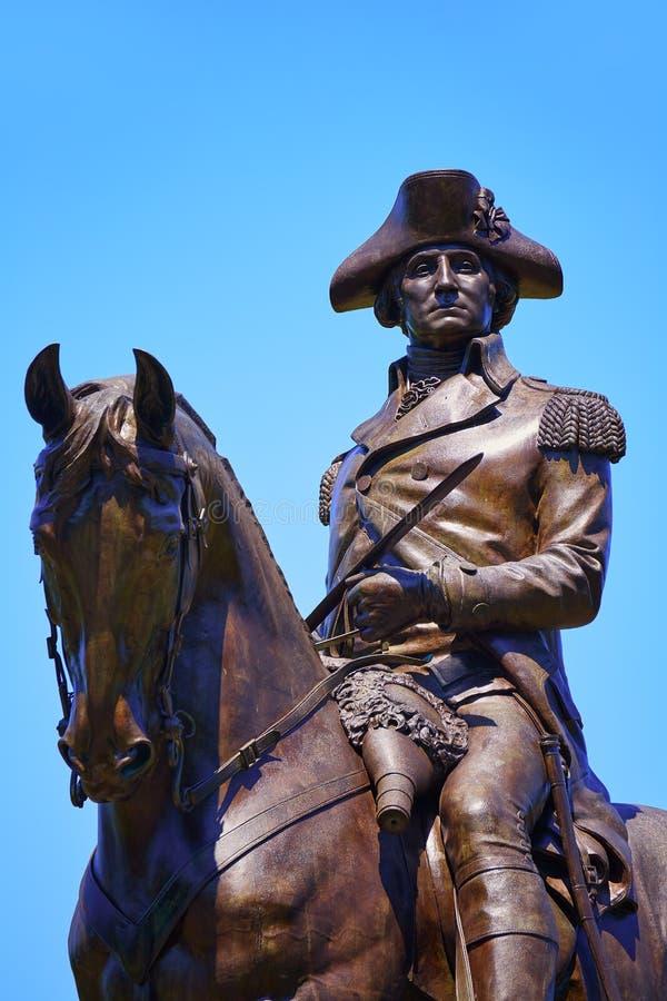 Boston Common George Washington monument. At Massachusetts USA stock photos