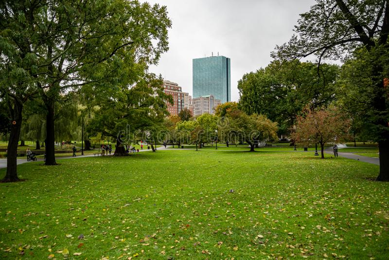 Boston Common. Boston Common is the oldest city park in the United States. BOSTON, MA: OCTOBER 28, 2018: Boston Common. Boston Common is the oldest city park in royalty free stock photos