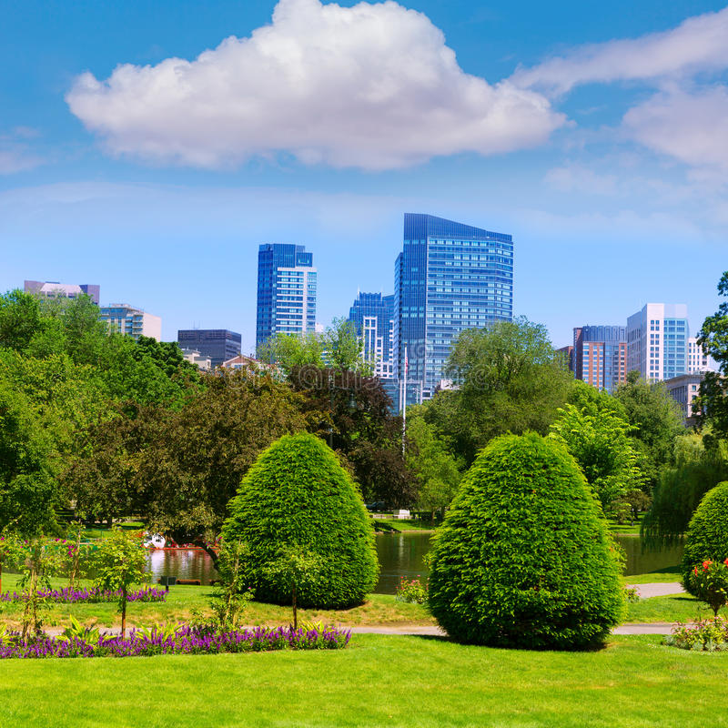 Free Boston Common Park Gardens And Skyline Stock Image - 52244651