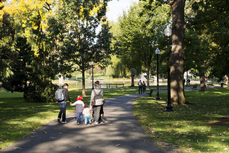 Boston Common Park. People strolling in Boston Common Park stock image