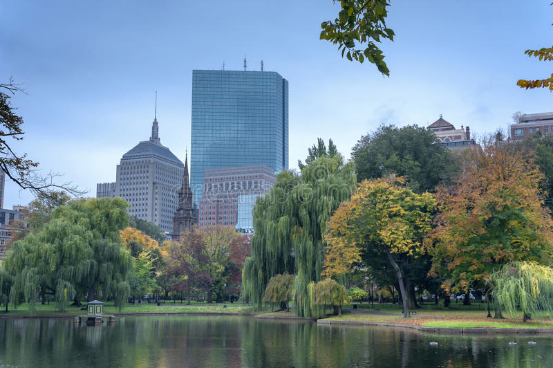 Boston Common Public Garden. Boston Common the oldest city park in the US and U.S. National Historic Landmark stock photos