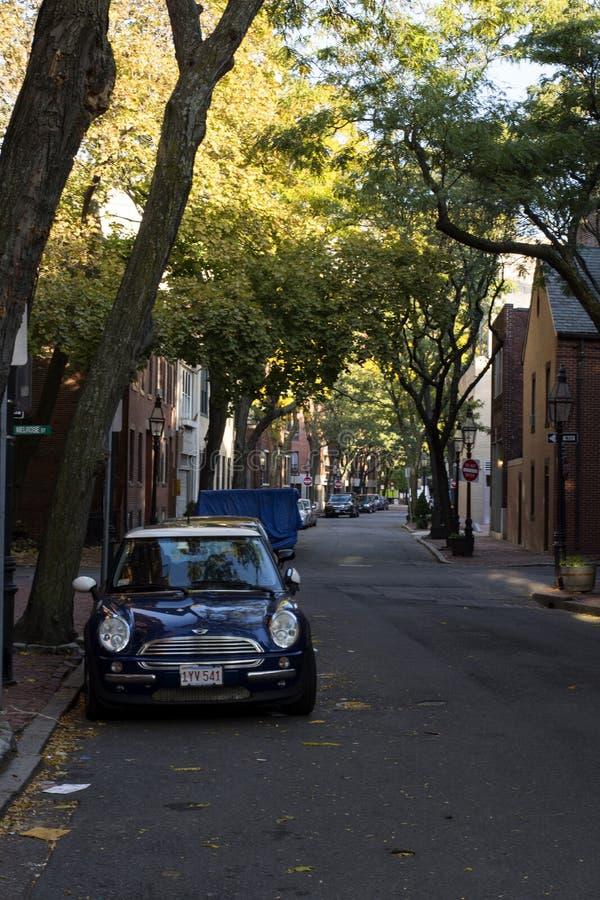 Boston Common quiet street. Beautiful town-houses in Boston Common quiet street stock images
