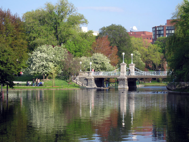 Boston Commons Bridge stock image