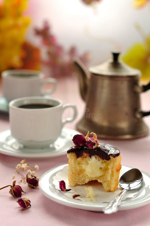 Boston Cream Pie Cupcake royalty free stock image