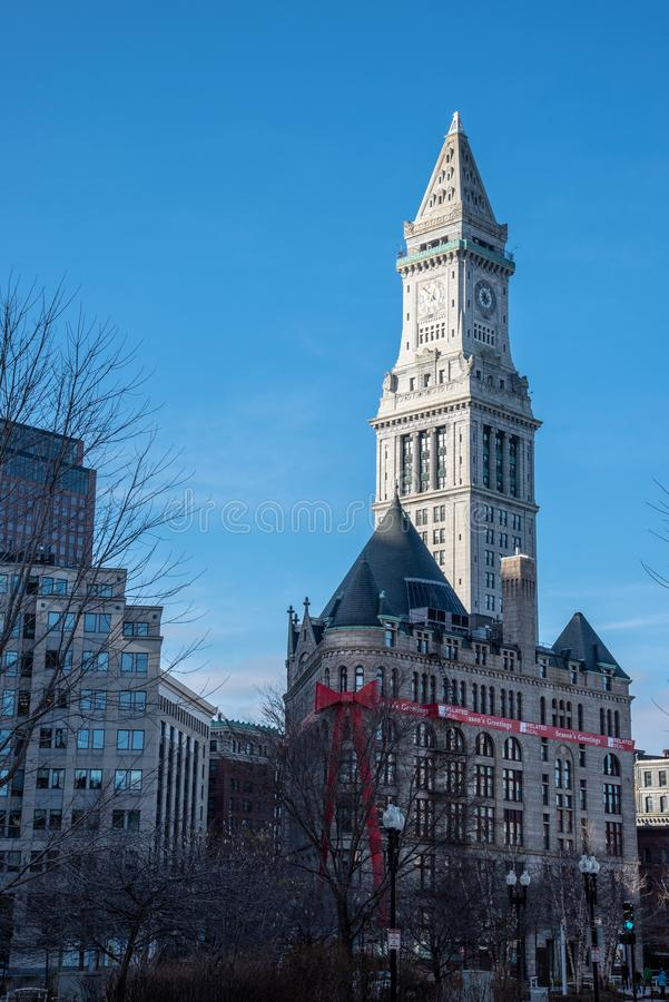 Boston Custom House in the financial district stock photography