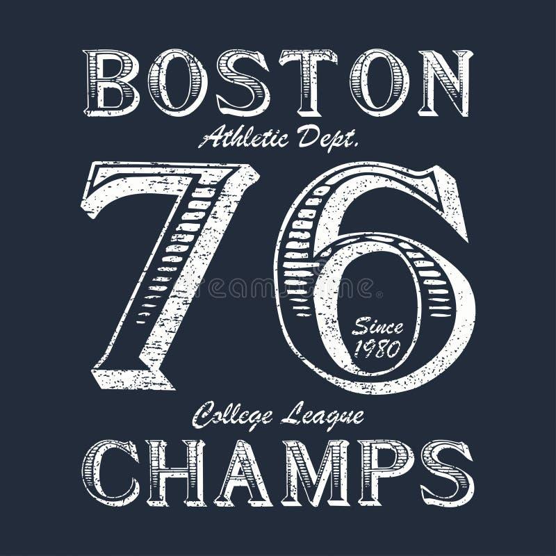 Boston czempion - typografia dla projekta odziewa, sportowa koszulka Grafika dla druku produktu, odzież Odznaka dla oryginalnego  royalty ilustracja