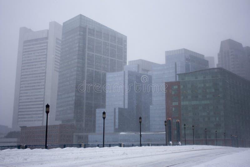 Boston dans une tempête de neige images libres de droits