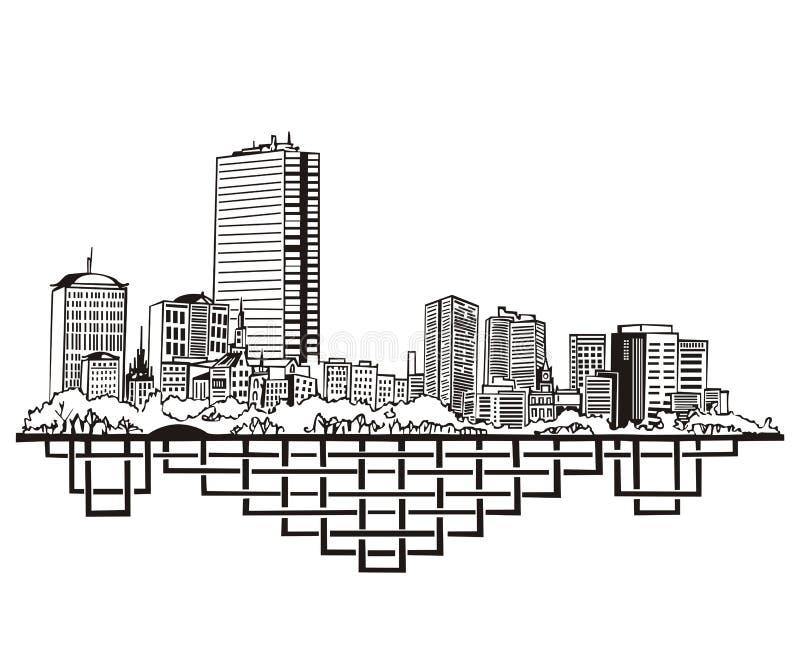 Boston, de Horizon van de doctorandus in de letteren vector illustratie